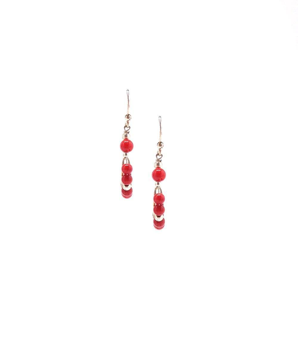 Mini Creole earrings in coral and silver Editions LESSisRARE Jewels