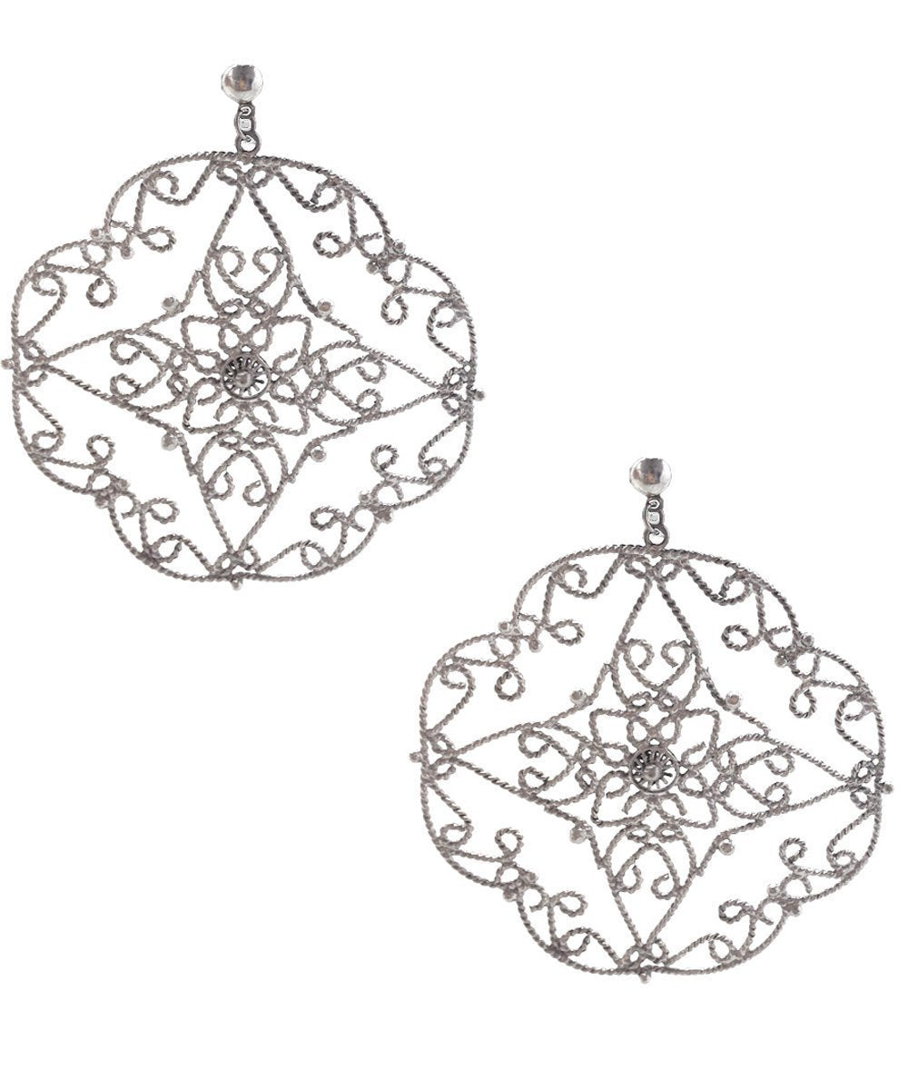 Silver lace creole earrings - Editions LESSisRARE Bijoux