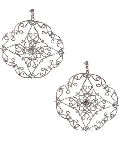 Silver lace creole earrings Editions LESSisRARE Bijoux