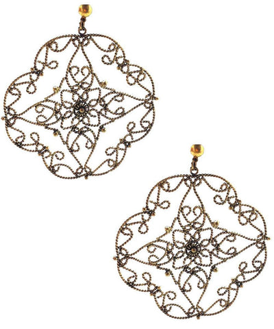 Gold lace earrings Editions LESSisRARE Bijoux