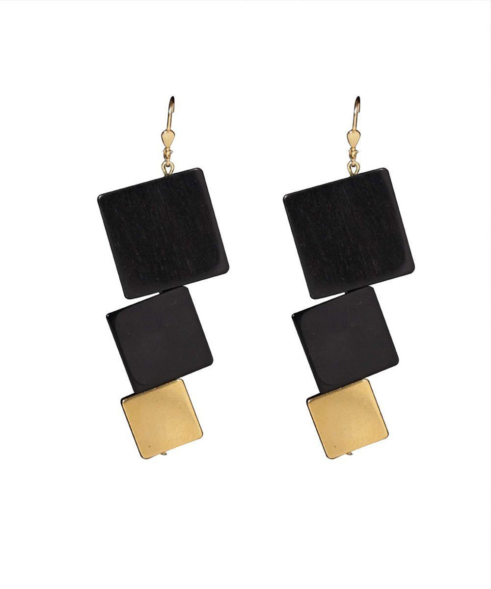 Earrings in black galalith - Editions LESSisRARE Bijoux