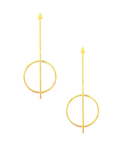 "Earrings golden stem and ring - ""Constellations"" eloïse fiorentino"