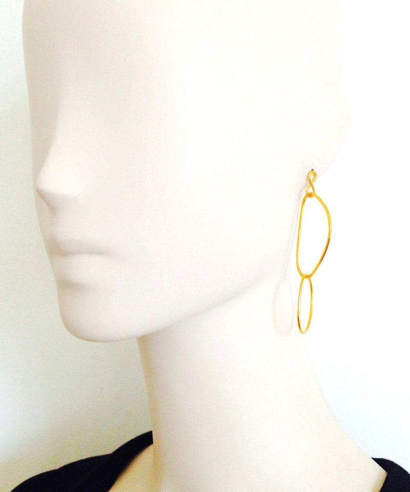 "Earrings Golden Intertwined Shapes - ""Over Water"" Designer Earrings"
