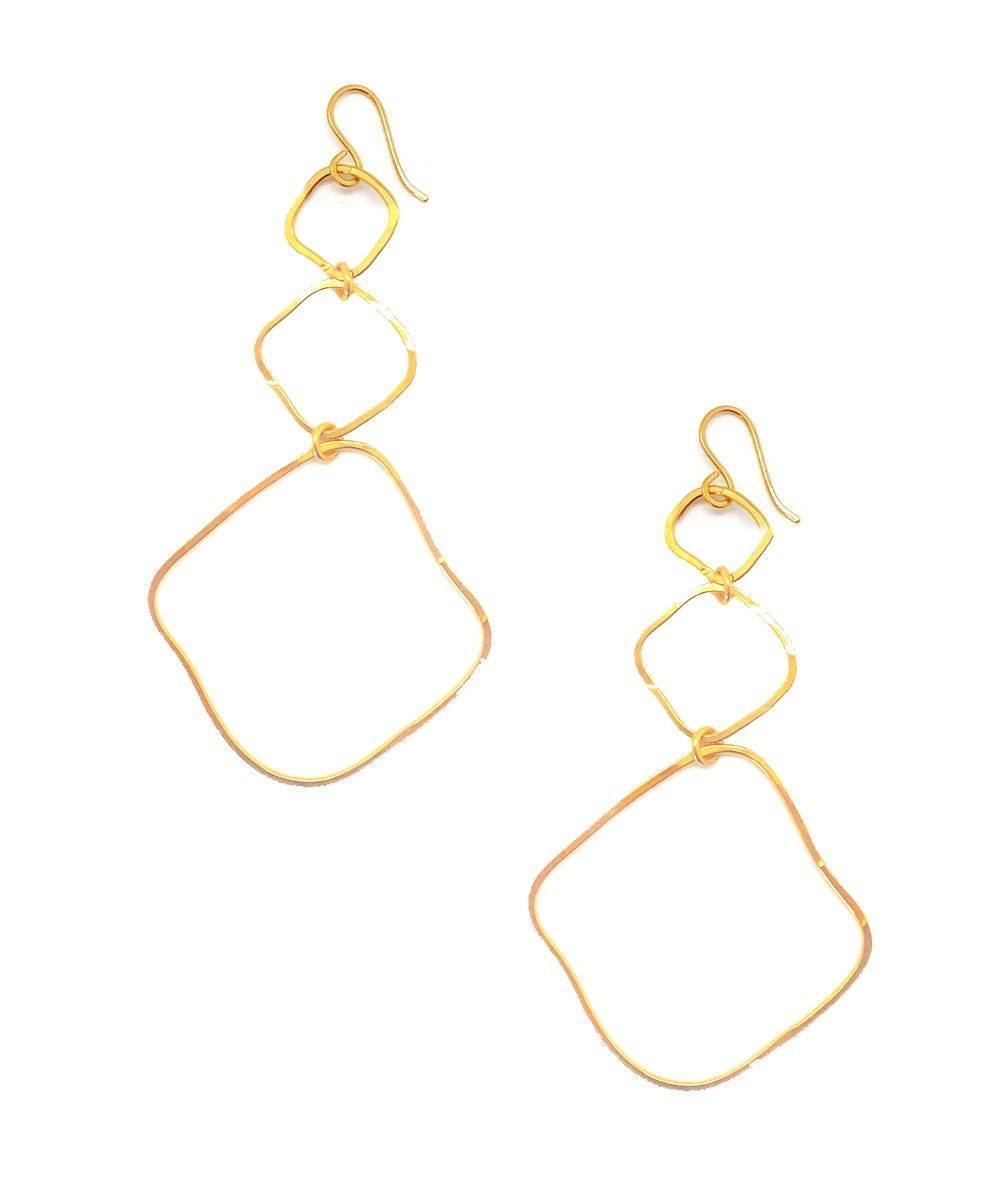 "Golden Trio Long Earrings - ""Ombre du soir"" Eloise Fiorentino"