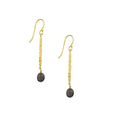 "Hammered Earrings, Fine Gold Gilding and Jasper - ""Cocoon"" Designer Earrings"
