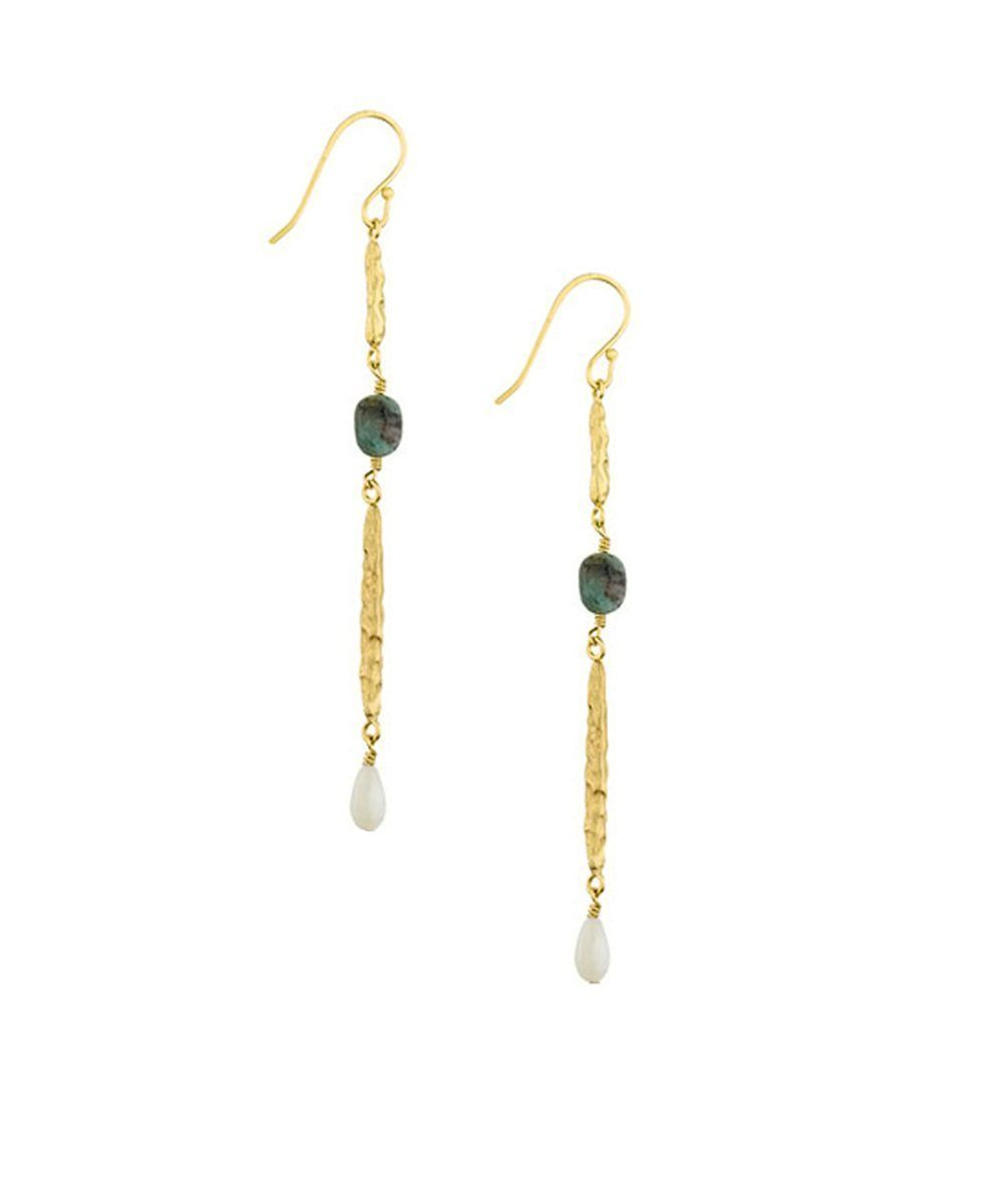 "Earrings hammered gilding with fine gold, Jasper and mother-of-pearl - ""Cocoon"" creator Earrings"