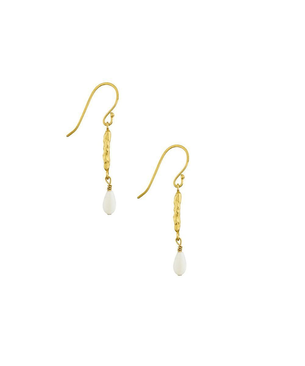 "Hammered earrings, fine gold gilding and mother-of-pearl pearls - ""Cocoon"" eloïse fiorentino"