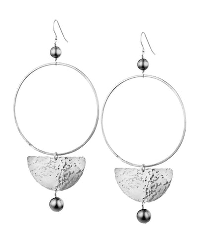 "Eloise fiorentino silver oversize earrings - ""Gold and pallor"""
