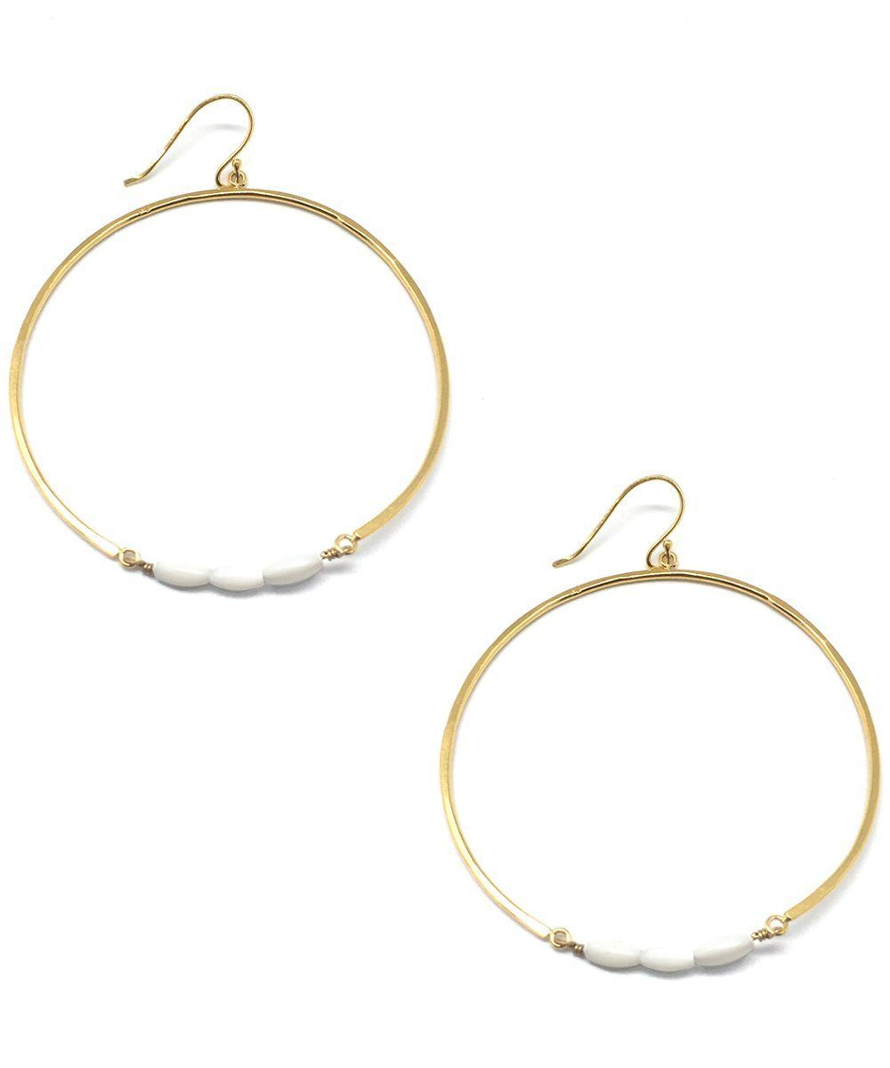 "Gold and mother-of-pearl hoops - ""Echo"" - Eloïse Fiorentino"