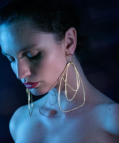 "Gilded golden earrings - ""Here"" designer Eloise Fiorentino worn"