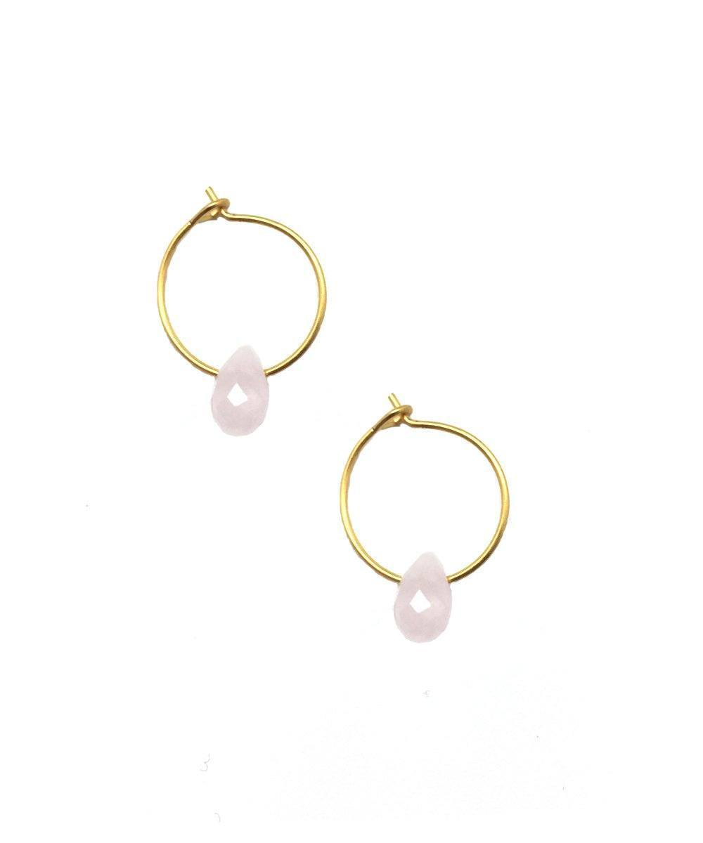 Mini faceted rose quartz hoop earrings - Eloïse Fiorentino