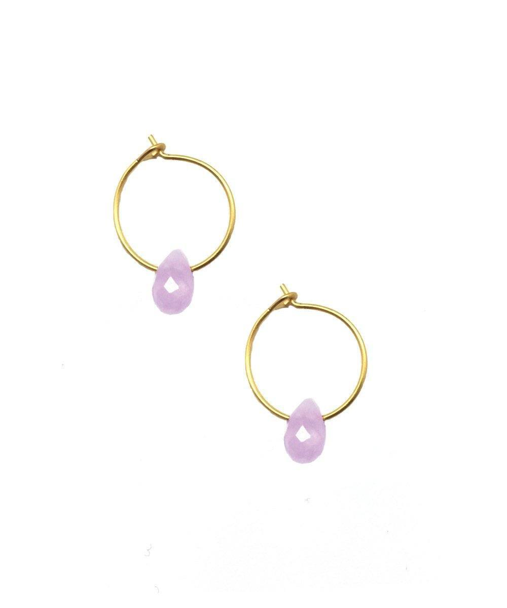 Mini creoles with faceted amethyst - Eloïse Fiorentino
