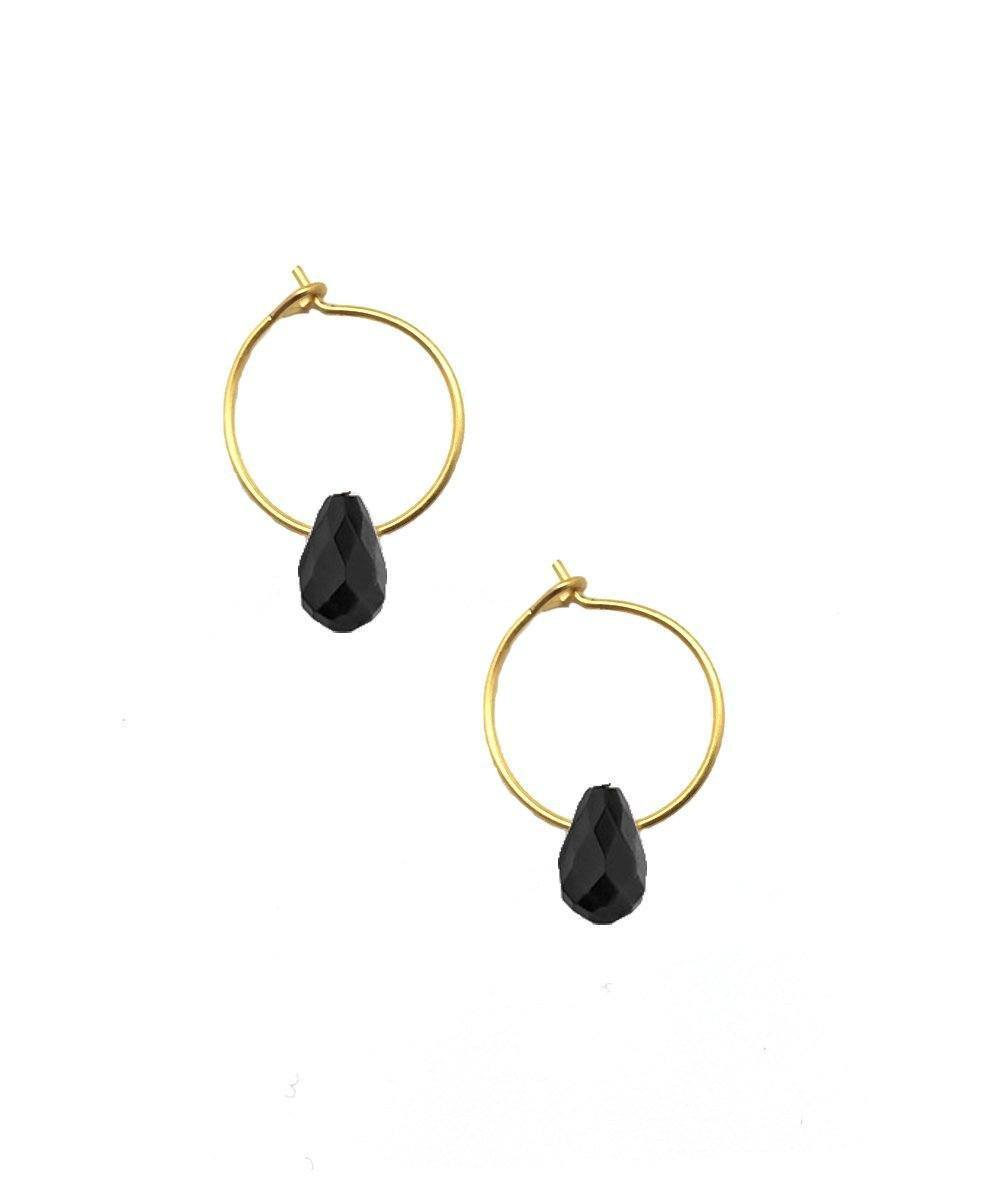 Mini obsidian hoop earrings - Eloïse Fiorentino