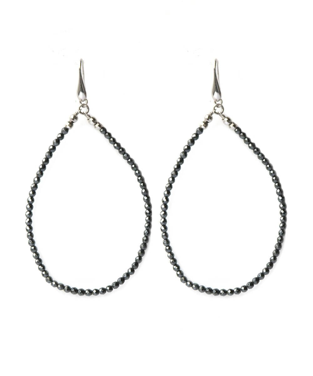 Long creole earrings with hematite clips - Fonsi