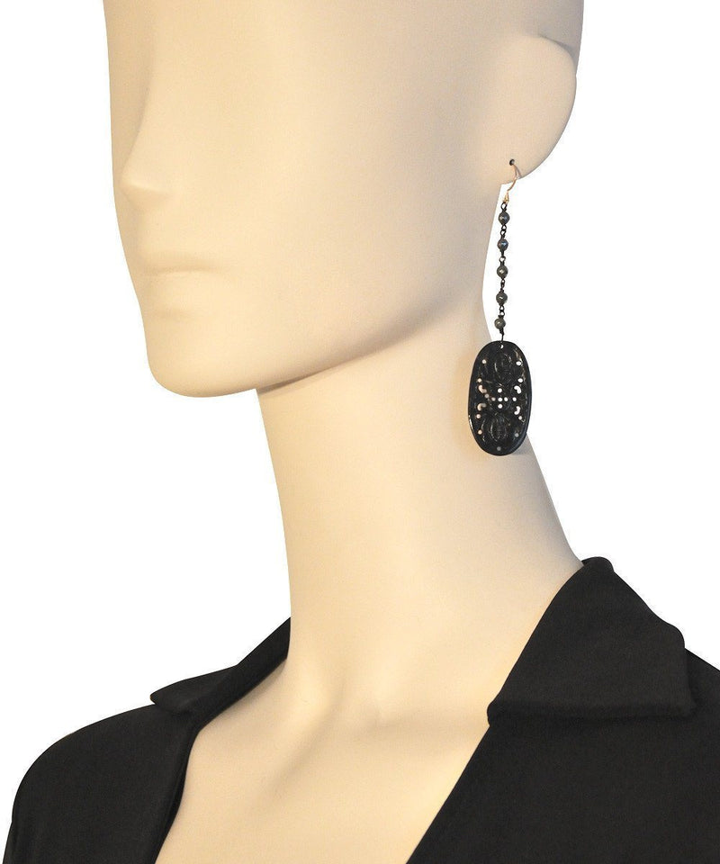 Black jade and hematite earrings - Fonsi