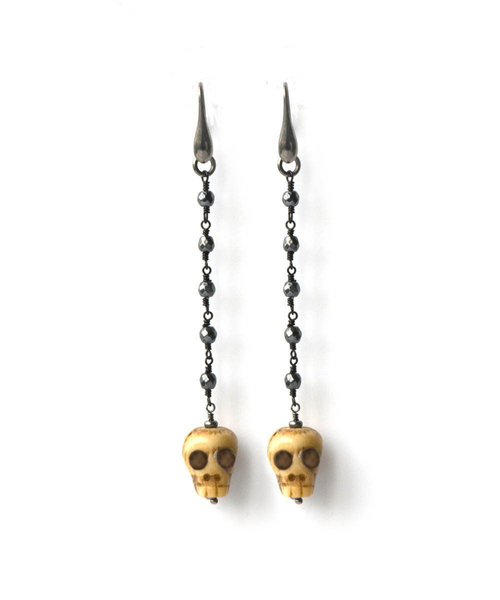Skull and black hematite clip earrings - Fonsi