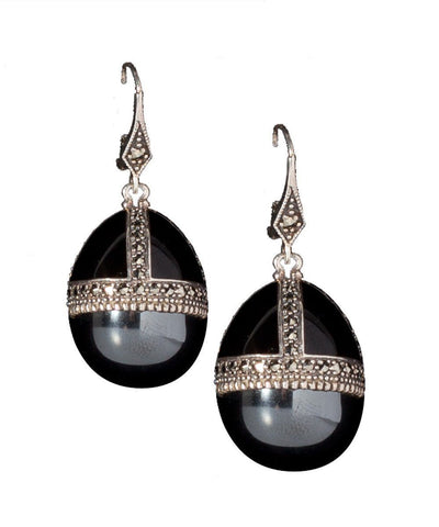 Earrings egg, onyx, marcasites and silver designer Earrings