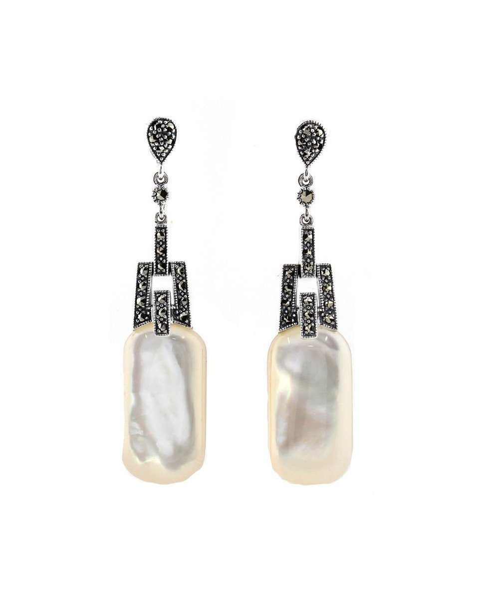 Pendant earrings in mother-of-pearl and marcasites - Metron