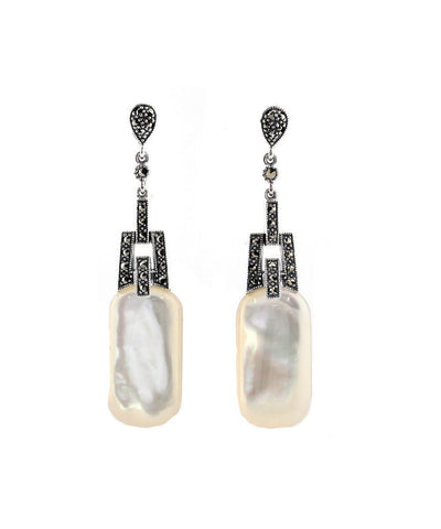 Pendant earrings mother-of-pearl and marcasites designer Earrings
