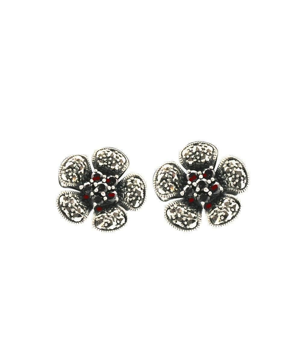 Earrings flower garnet and marcasites - Metron