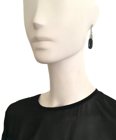 Designer onyx and marcasite pendant earrings Earrings