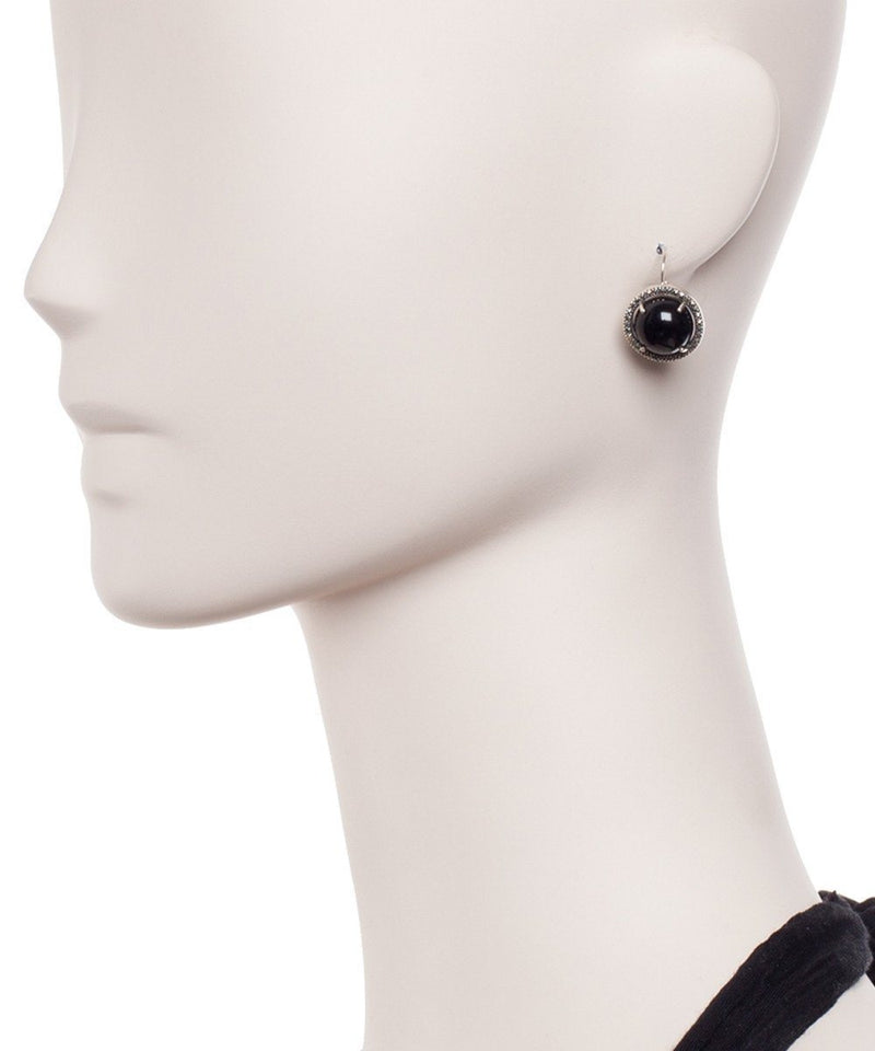 Lever-back earrings in onyx, marcasites and designer silver Earrings