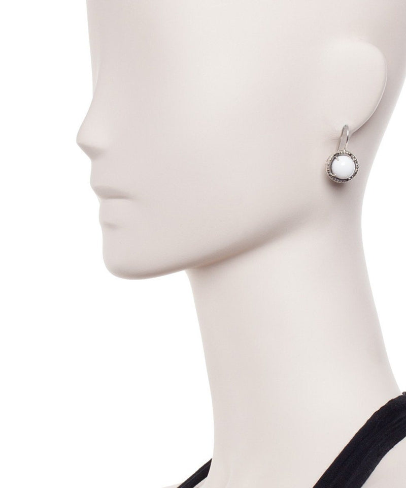 Lever-back earrings in white agates, marcasites and designer silver Earrings