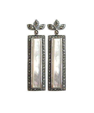 Rectangle earrings in onyx, marcasites and designer silver Earrings