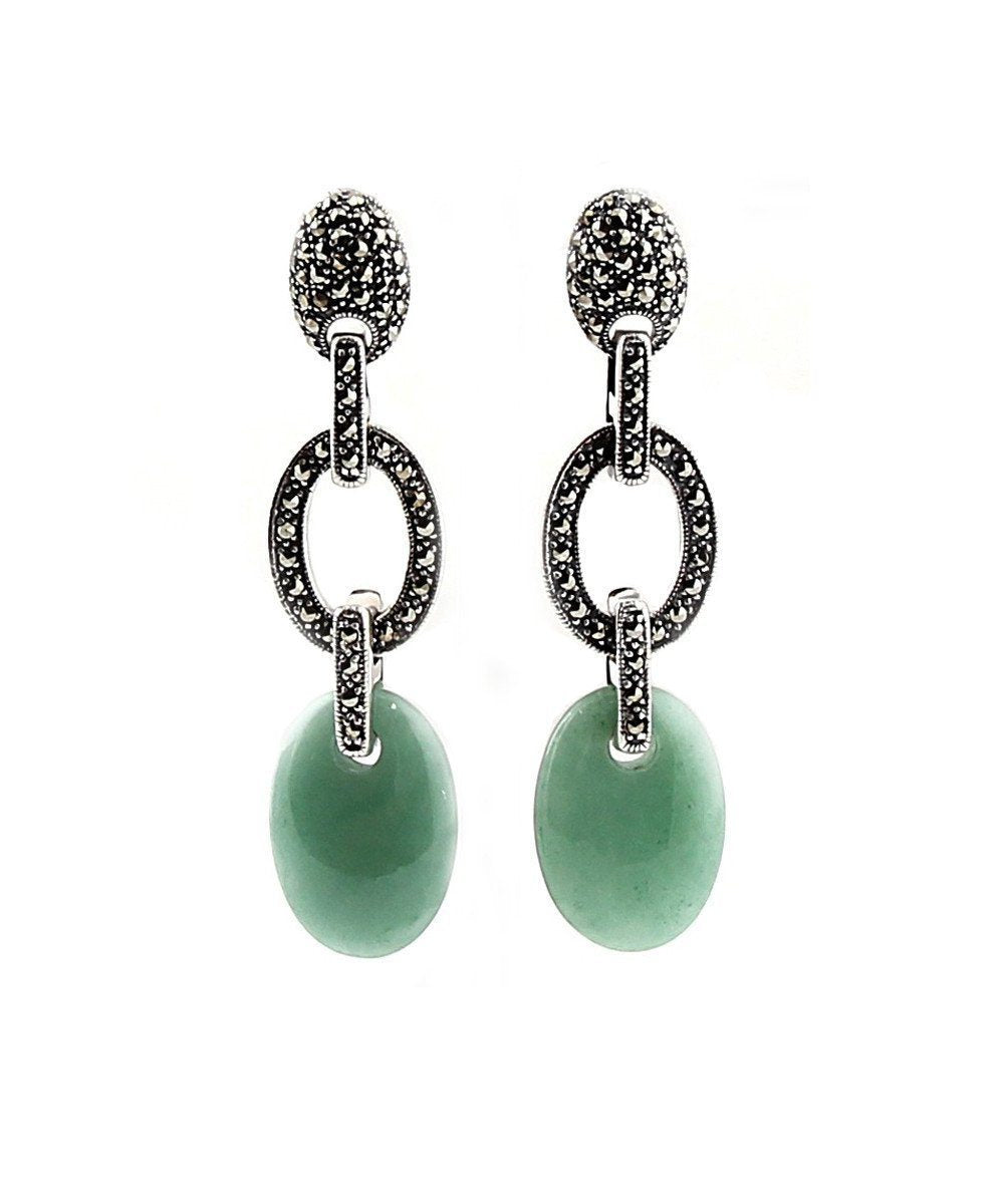 Green jade earrings and marcasites designer Earrings
