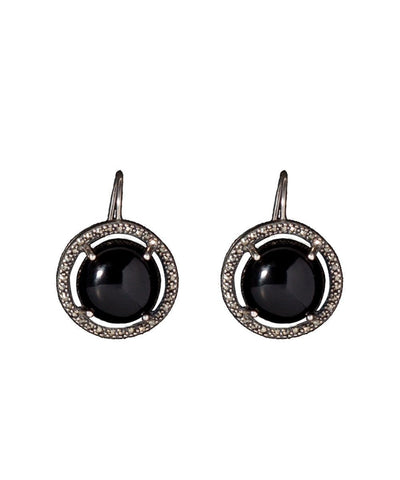 Onyx, marcasite and designer silver earrings earrings Earrings