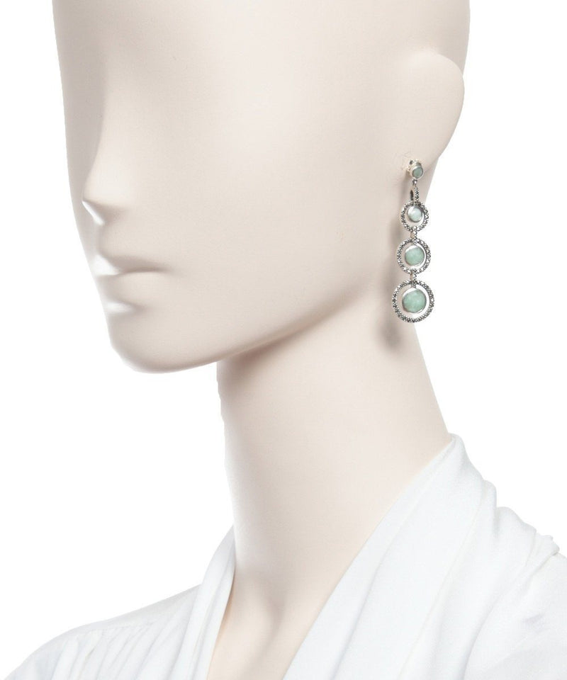 Art Deco jade, marcasite and silver earrings - Metron