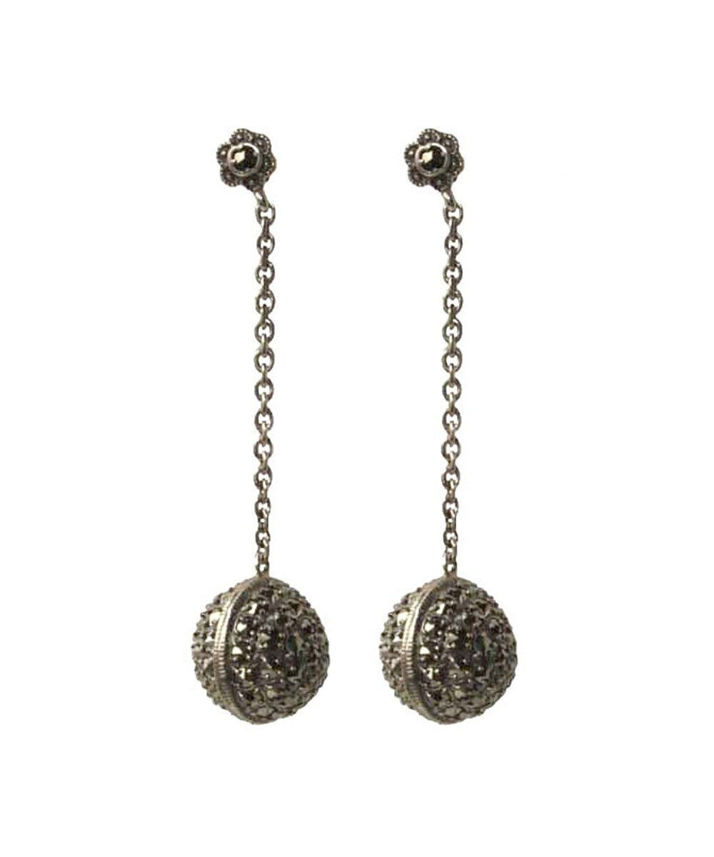 Silver earrings and marcasite beads - Metron