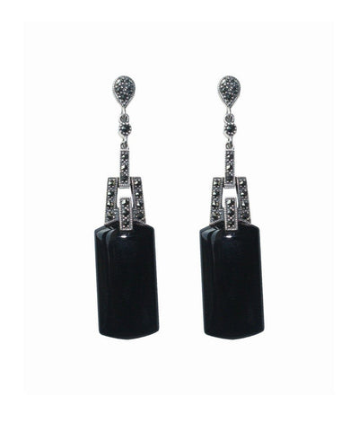 Pendant earrings in onyx and marcasites designer Earrings
