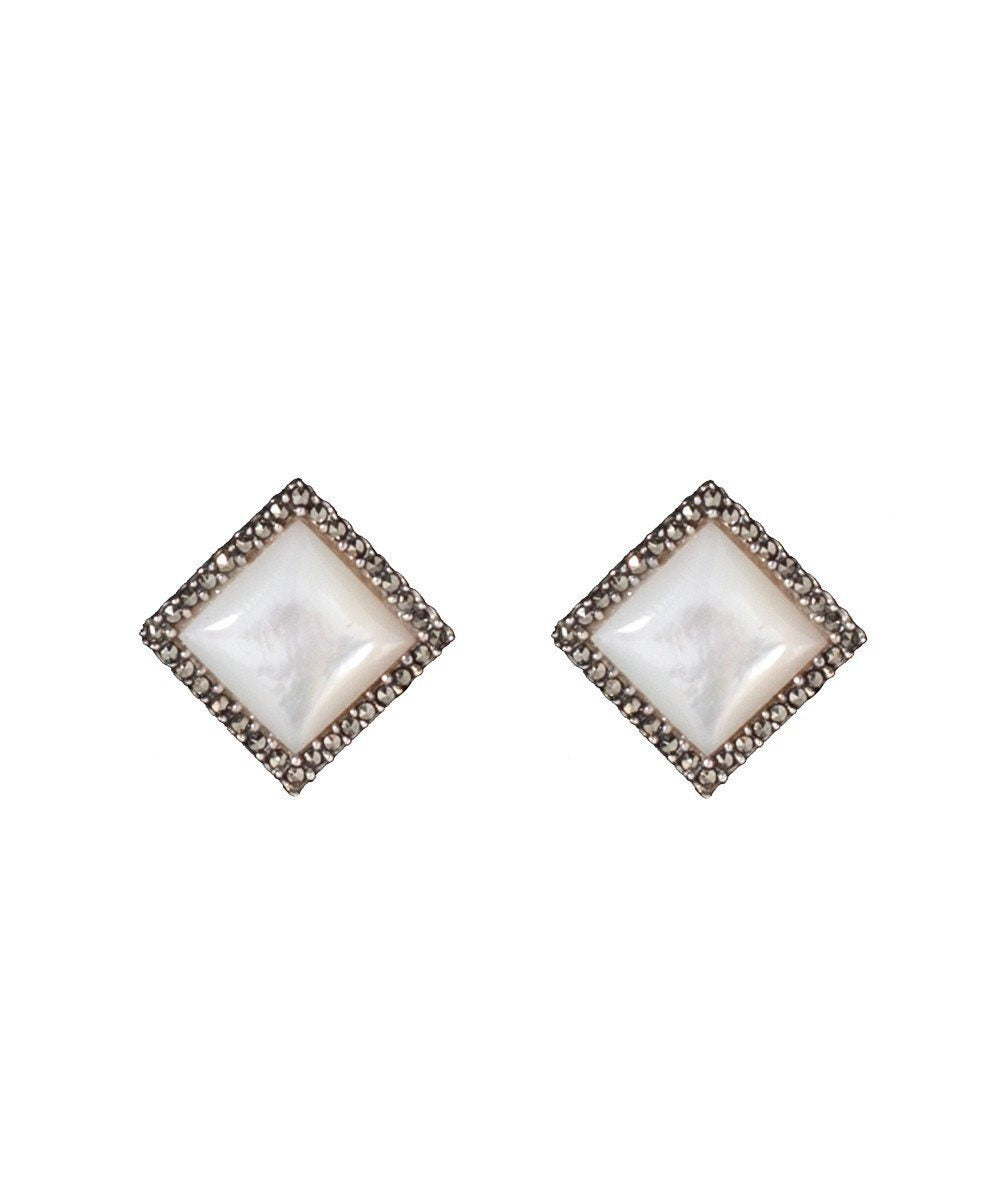 Earrings rhinestone mother-of-pearl, marcasites and silver designer Earrings