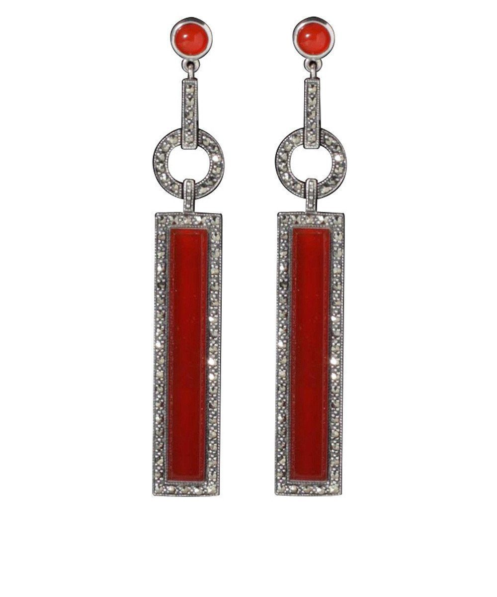 Art Deco earrings in carnelian and marcasite - Metron