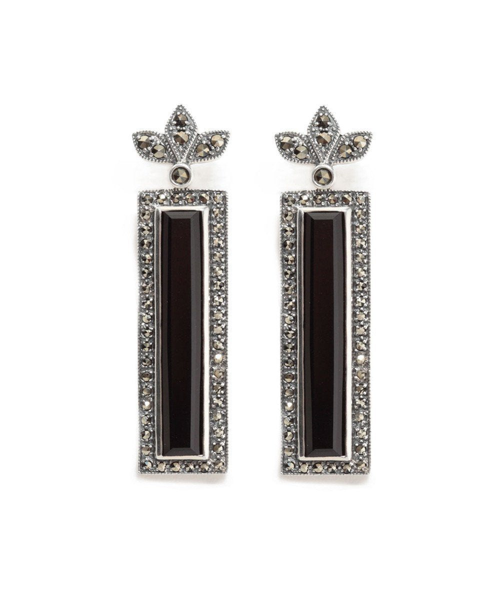 Rectangle earrings in onyx, marcasites and silver designer earrings