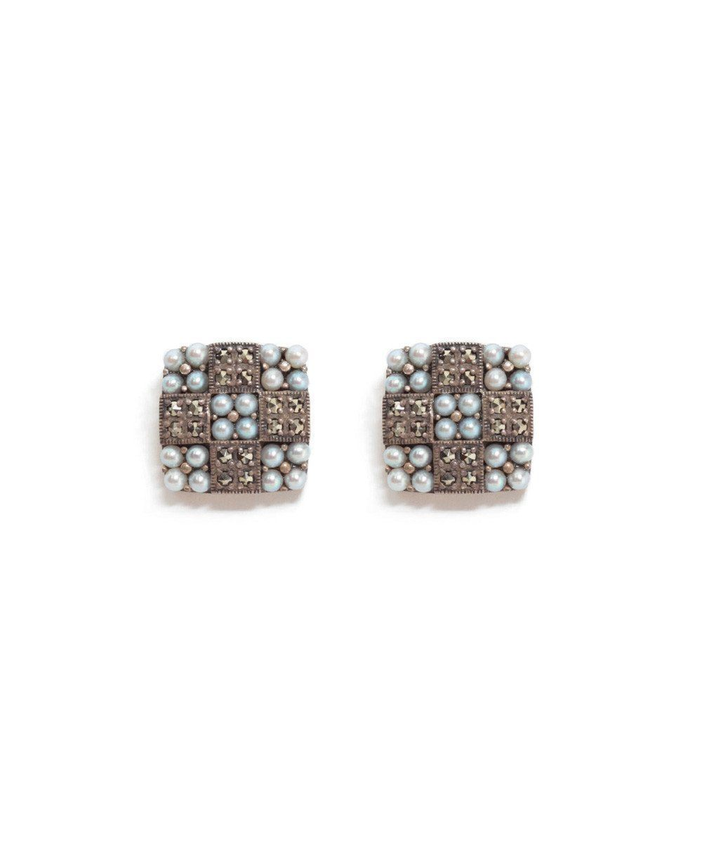 Earrings cultured pearls, marcasites and silver designer Earrings