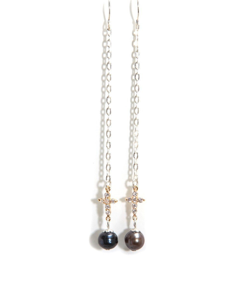 Silver cross rhinestone and black pearl earrings - Rafaelis