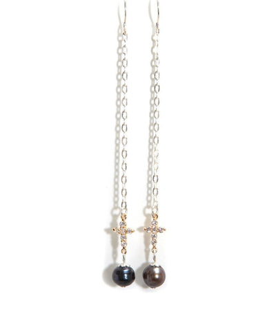 Silver rhinestone cross earrings and black pearl designer Earrings