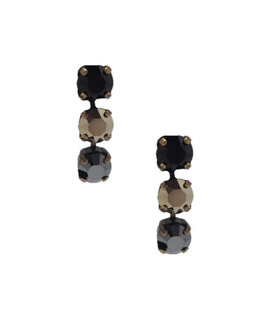 vogline Black Swarovski Crystals Earrings Designer