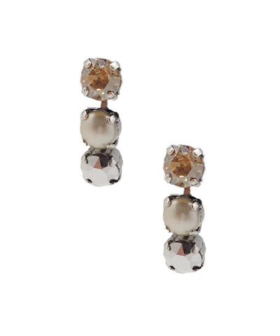 vogline Swarovski crystals earrings and designer cream pearl
