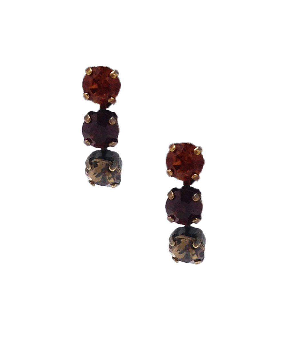 Burgundy Swarovski crystals earrings - Vogline