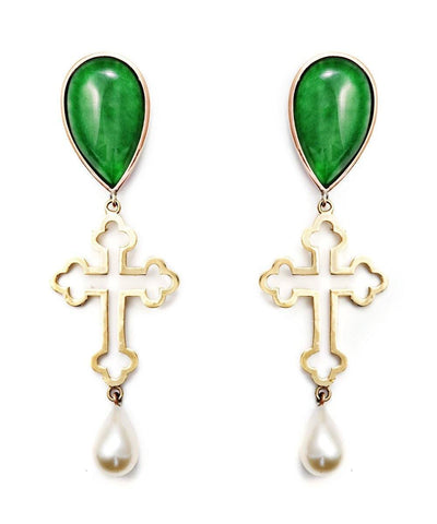 Cross earrings - Gold, jade and pearls designer Earrings