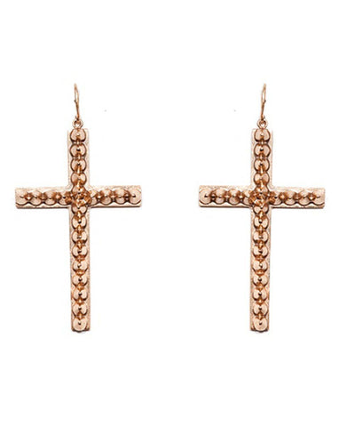 Cross Earrings with Studs - Gold and Bronze Designer Earrings