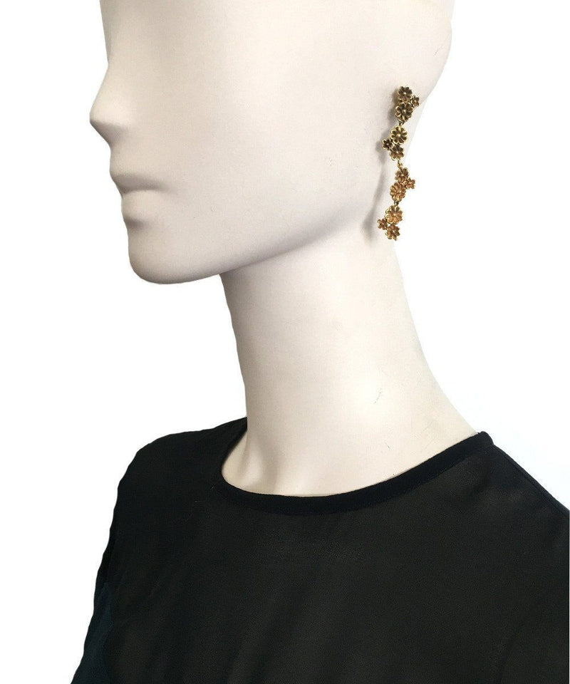 Azores gilt bronze earrings in fine gold - France Thierard