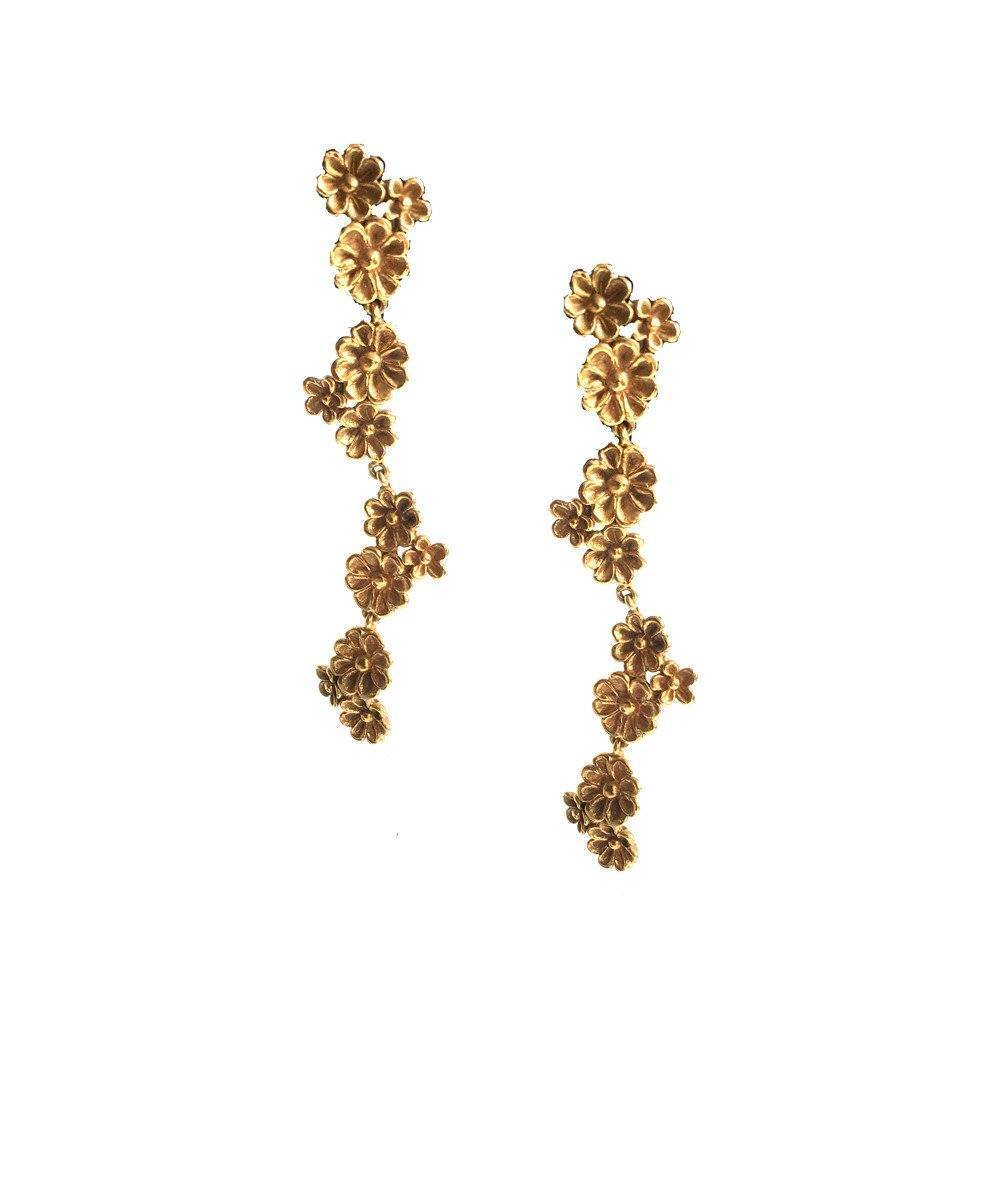 Azores gilt bronze earrings late gold France Thierard