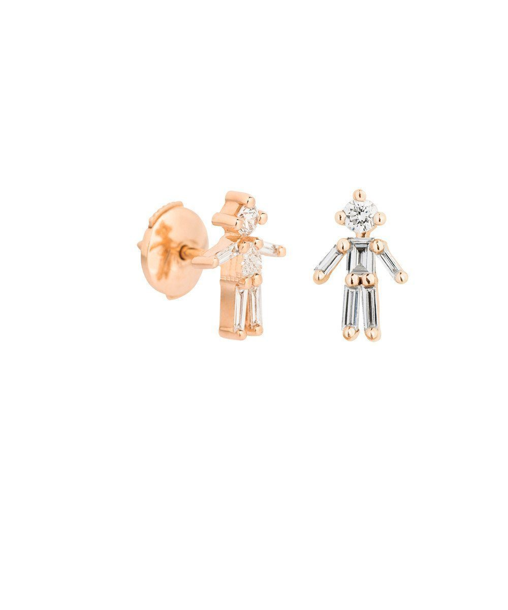 Boys earrings in pink gold and diamonds - Little Ones Paris