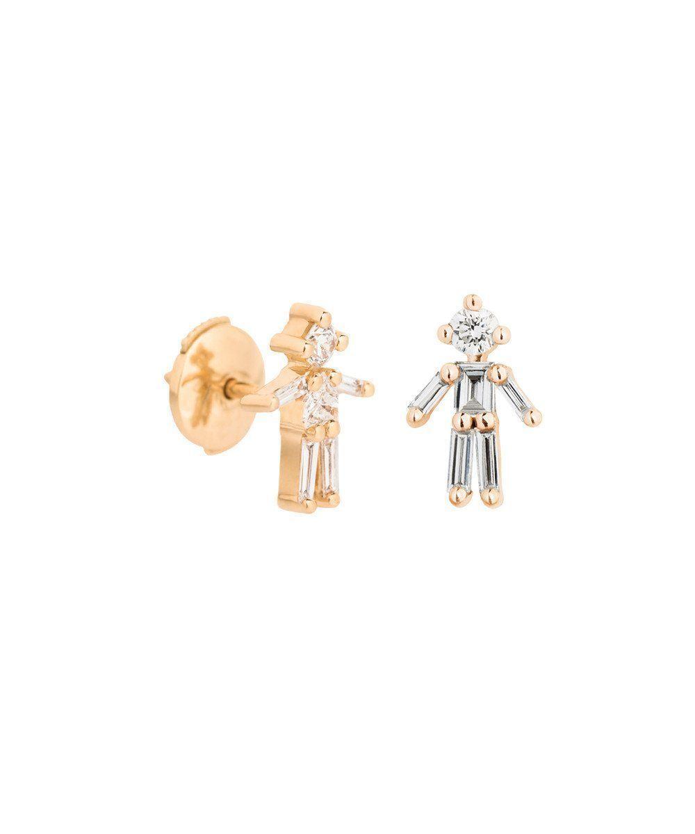Boys earrings in yellow gold and diamonds - Little Ones Paris