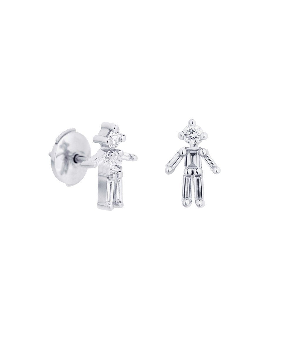 Boys Earrings in White Gold and Diamonds - Little Ones Paris
