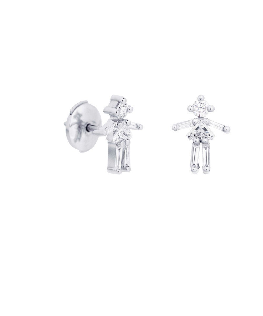 Girl's earrings in white gold and diamonds - Little Ones Paris